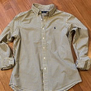 Ralph Lauren Blue Yellow Check Button Down Shirt